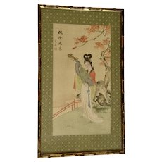 Vintage Japanese Geisha Carrying a Lute Watercolor Painting on Silk