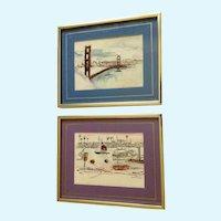 James Sing, The Golden Gate Bridge and Balboa Island Mixed Media Paintings