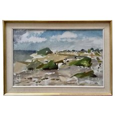 Kjell Rosen (1909 - 1982) Coastal Landscape Oil Painting Signed by Listed Swedish Artist