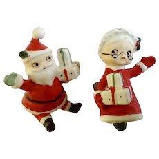 Lefton's Mr. and Mrs. Santa Claus Stocking Clip on Ornament Ceramic Figurines #2024