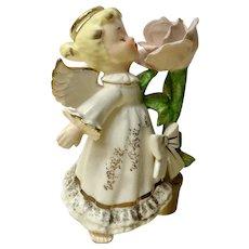 Ardalt Cute Little Girl Angel Kissing a Rose Ceramic Artware Figurine A6406A