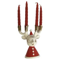 Vintage Holt Howard Christmas Reindeer Antler Candle Holder for Small Candlesticks Ceramic HH Japan Figurine