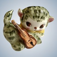 Napco Adorable Big Eye Kitty Cat next to Guitar Ceramic Animal Figurine Planter Vase K2432