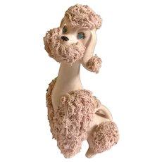 """Vintage Kreiss & Company Pink Spaghetti Poodle Dog Figurine Mid Century Jeweled Blue Eyes 7-1/2"""""""