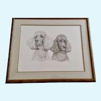 Susan (Sue) B. Rupp (1959-2008), Poodle Dog Portraits Pencil Sketch