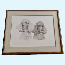 Susan (Sue) B. Rupp (1959-2008), Poodle Dog Portraits Pencil Sketch