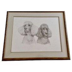 Susan (Sue) B. Rupp (1959-2008), Poodle Dog Portraits Original Pencil Sketch Signed by Artist