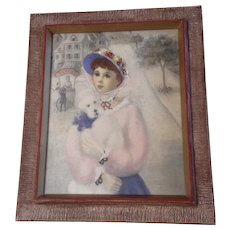 Renee B Groch, Girl With A French Poodle Dog Stone Lithograph Print Aquatint Painting