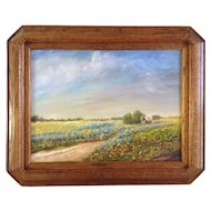 Clifford, Bluebonnet Wildflowers on the Old Homestead Texas, Painting, Original Oil on Canvas Signed by Artist
