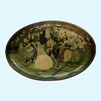 Vintage Renaissance Ball Dancing Chinese Lantern Serving Toleware Tin Tray