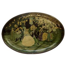 Vintage Renaissance Ball Dancing Chinese Lantern Serving Toleware Tin Tray