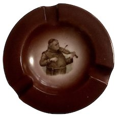 Vintage Germany Cigar Ashtray Transferware with Monk Playing Violin #198 Porcelain