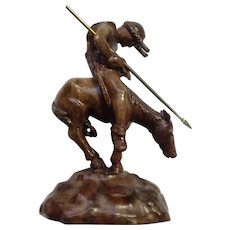 The End Of The Trail Indian on a Horse Hand Carved Wood Sculpture Signed By Artist