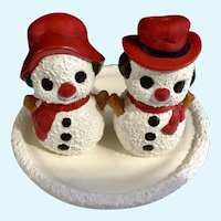 Vintage Adorable Christmas Snowman Set Salt and Pepper Shakers Hand Painted S & P Frosty Figurines