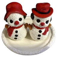 Vintage Adorable Christmas Snowmen Salt and Pepper Shakers Hand Painted S & P Frosty Figurines