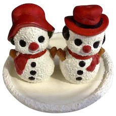 Vintage Christmas Snowman Salt & Pepper Shakers