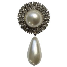 """Vintage Diamond Rhinestones and Faux Pearl Brooch Pin Costume Jewelry 2-1/4"""" Long"""