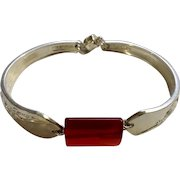 """Original Rogers Rose Silverware Silver-plate Bracelet with Red Bead Center Costume Jewelry 7-1/2"""""""