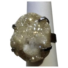 Natural Crystal Geode Stone Ring Silver-tone Size7.5