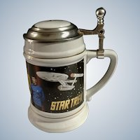 Star Trek Original Cast Beer Ale Stein Limited Edition Lidded Mug Trekkie Collectible Captain Curt, Spock, McCoy and Crew of Enterprise 1994