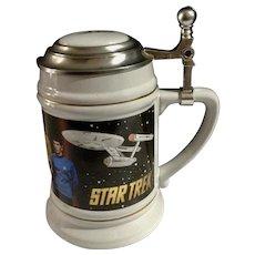 Star Trek Original Cast Beer Ale Stein Limited Edition Lidded Mug Trekkie Collectible Captain Curt, Spock, McCoy and Crew of Enterprise 1994