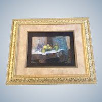 Edith Damon Baxter, Titled Bohemian Glass Still Life, Vintage Pastel Drawing Picture Works on Paper Signed by Artist