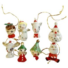 8 Small Christmas Ornaments Mid Century Bunch of Little Critters and Christmas Characters Ceramic Figurines