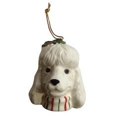 White Poodle Dog Christmas Pets Xmas Tree Ornament Ceramic Figurine