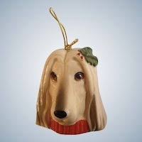 Vintage Afghan Hound Dog Christmas Pets Xmas Tree Ornament Ceramic Figurine