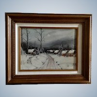 E Well, Snow Covered Town Street Landscape Folk Art Oil Painting Signed by Artist