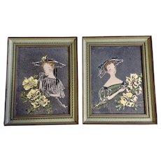 M Johnson, French Women At Tea, Vintage Serigraph Screen Prints