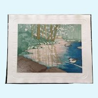 Judith Hall, Special Place Landscape Etching Limited Edition Hand Colored Embossed Print