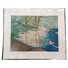 Judith Hall, A Special Place Landscape Etching Limited Edition Hand Colored and Embossed Print Signed by Artist