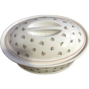 Pillivuyt France Porcelain Large Game Pie Tureen Casserole Terrine Oval Covered Dish PIL3 Pink Flowers, Green Leaves, Pink Trim Decor Grand Feu