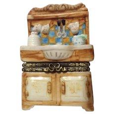 Cute Kitchen Sink Porcelain Hinged Trinket Box