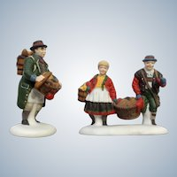 Heritage Village Collection Buying Baker's Bread Set of 2 Christmas Department Dept 56 Ceramic Figurines #5619-7