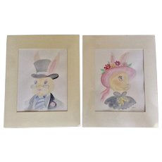 Teri Atkins Brown, Easter Bonnet II Watercolor Paintings Works on Paper Bunny Rabbit Portraits Signed By Tennessee Artist