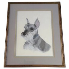 Miniature Schnauzer Dog Portrait Original Oil Pastel Painting Signed by Artist J. B. McKnight