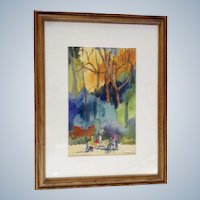 Figural's Sitting At Park Benches In The Autumn, Watercolor Painting Signed By Artist
