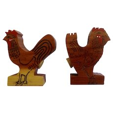 Vintage Wooden Rooster Salt and Pepper Shakers Black Hills South Dakota