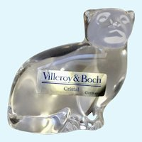 Villeroy & Boch Crystal Glass Cat Paperweight Figurine Signed