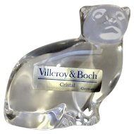 Villeroy & Boch Crystal Glass Sitting Cat Paperweight Figurine Signed