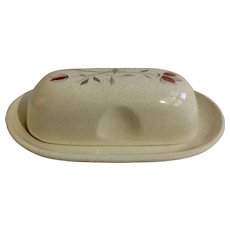 Vintage Franciscan Duet Butter Dish Pink Rose Flowers With Gray Steams California Pottery