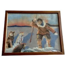 E Anne Campbell, Inuit Eskimo Indian Ice Spear Fishing With His Alaskan Malamute Sled Dogs 1959 Charcoal Pastel Painting Signed By Artist