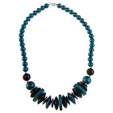 Beautiful Teal Blue, Black and Silver-tone Beaded Necklace 24-1/2""