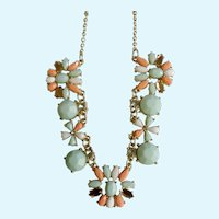 """Lovely Faux Coral and Faux Turquoise colored Gold-tone Flower Necklace 17-20-1/2"""" Chain"""