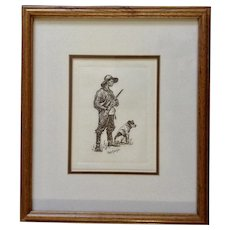Frederic Remington Coon Hunters Etching Print Works on Paper