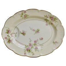 "Sylvia Cream Rim Pilgrim by Theodore Haviland Limoges France Pink Flowers 11"" Oval Serving Platter Dish"