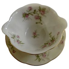 "Sylvia Cream Rim Pilgrim by Theodore Haviland Limoges France Pink Flowers 5-3/4"" Gravy Boat with Attached Underplate Dish"