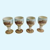 Vintage Kutahya Athens Greece Greek Pottery Souvenir Ouzo Cups